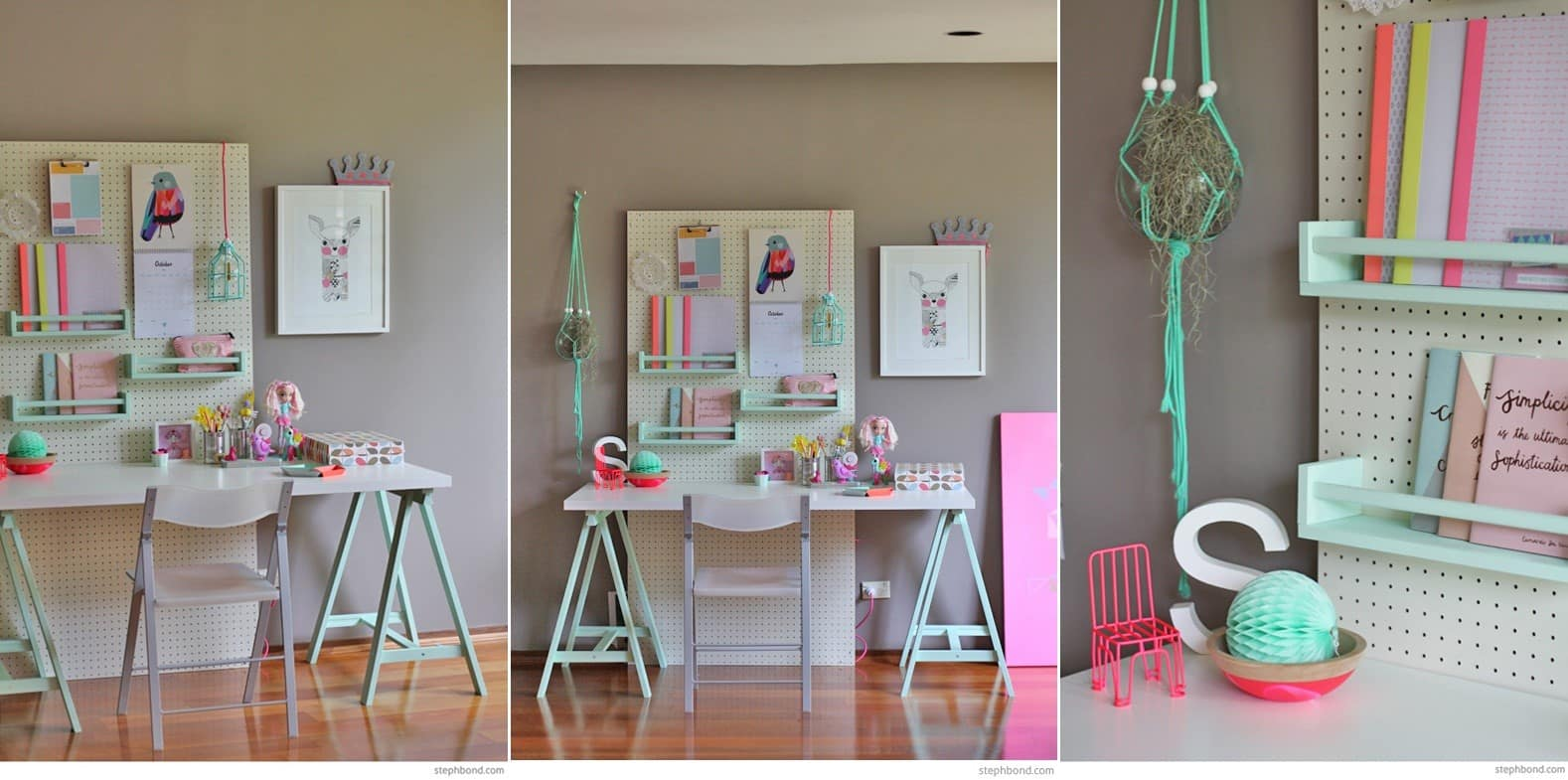 A Kids' Study Desk with a Pegboard