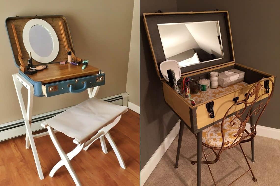 Antique Suitcase Vanity Table Idea