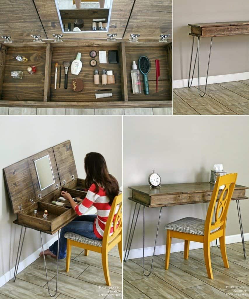 Hairpin Leg Wooden Makeup Table