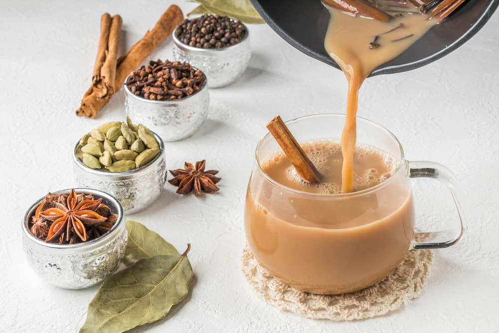 Herb tea with milk of Chai India