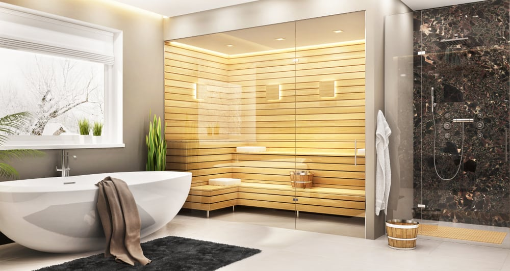 Luxurious bathroom with sauna in a modern home