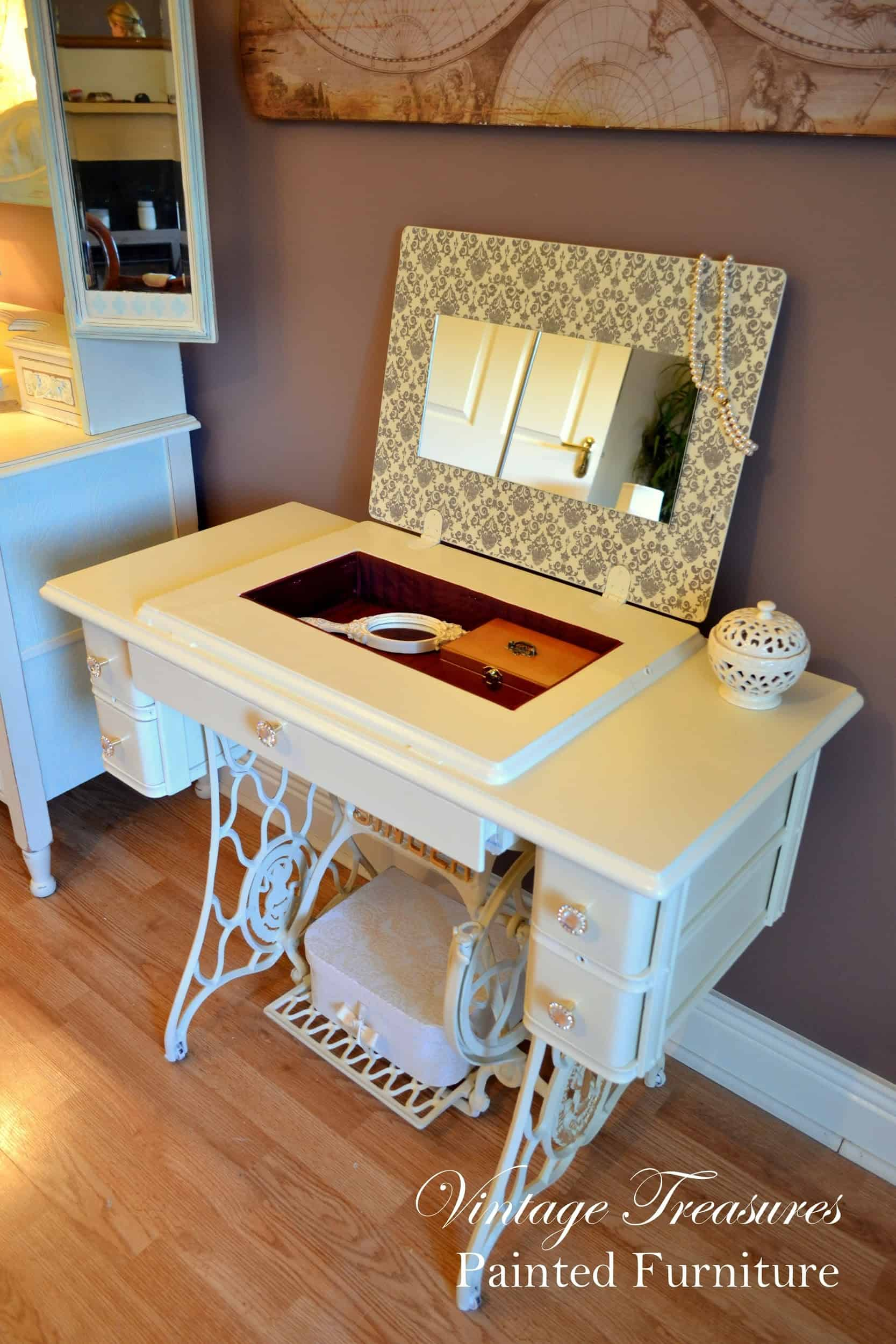 Recycled Singer Sewing Machine Stand Vanity Table