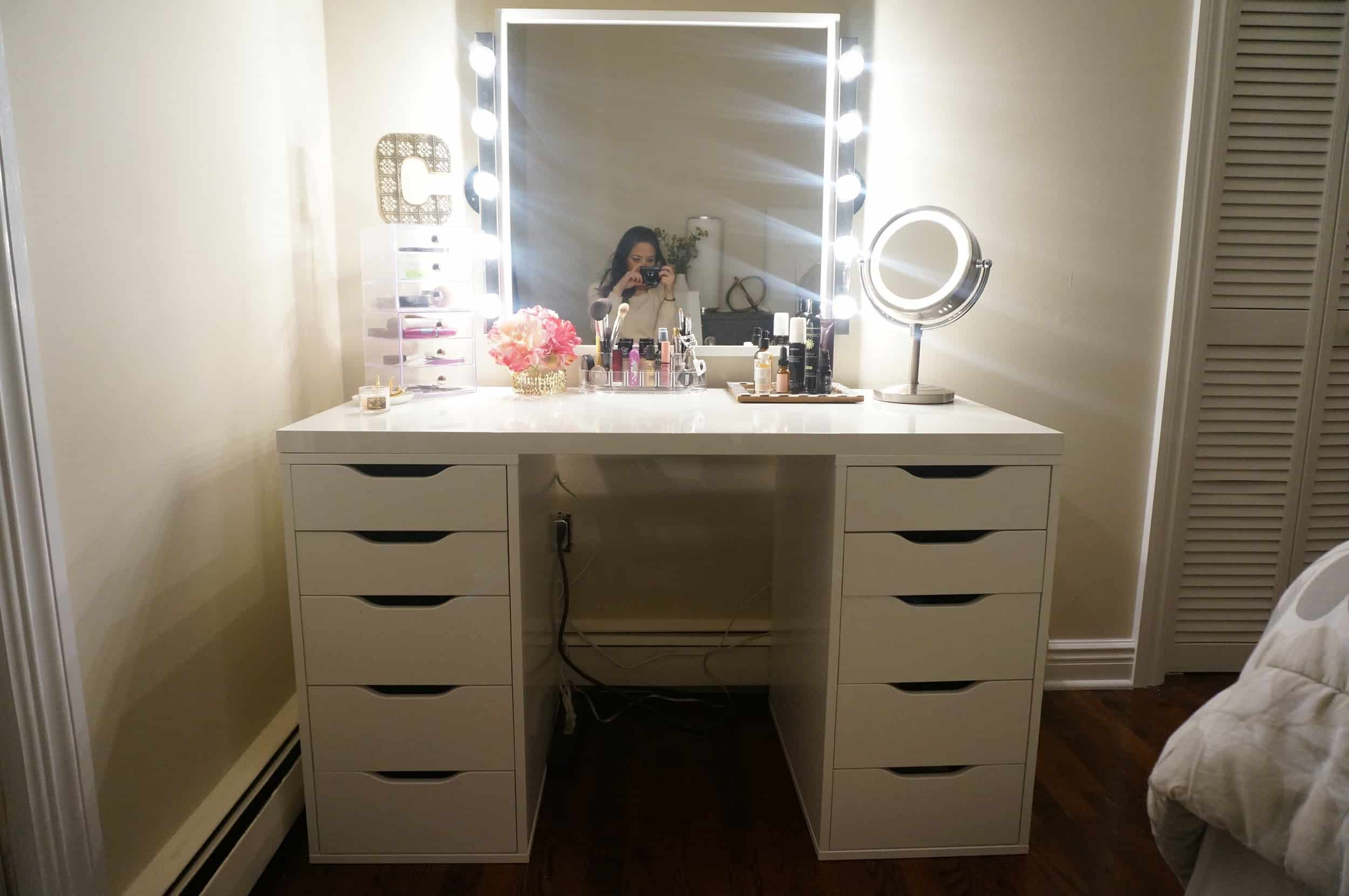 Vanity Table Made with IKEA Alex Drawer Units and an IKEA Tabletop