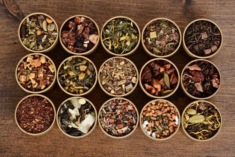 top view organic herbal tea in tins