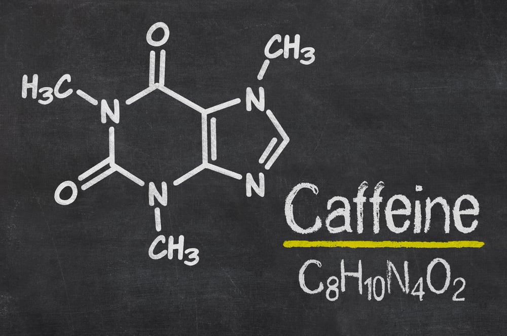 Blackboard with the chemical formula of Caffeine