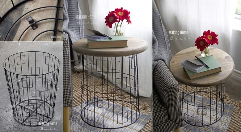 A DIY Wire Basket Side Table
