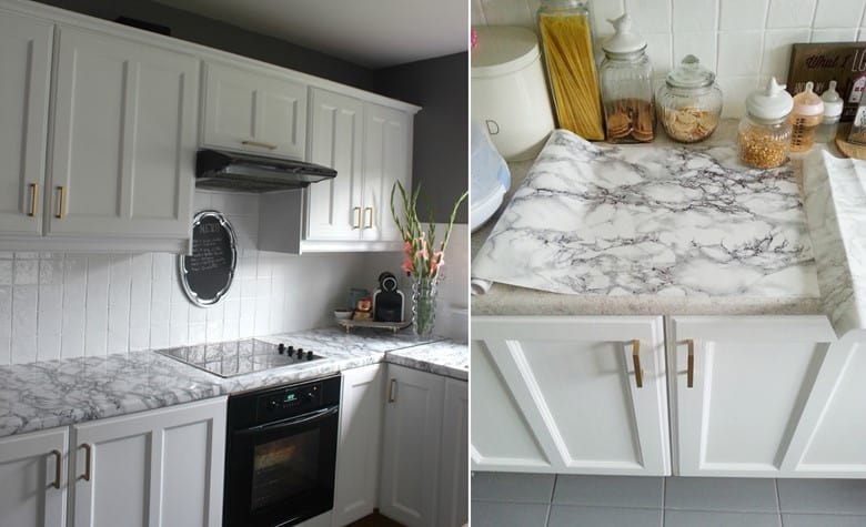 DIY Marble Contact Paper Countertops