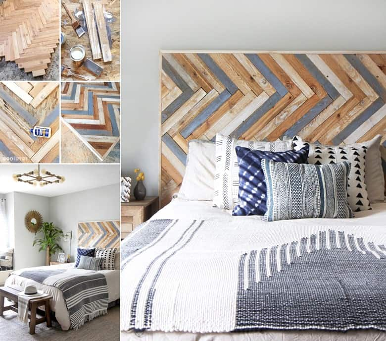 A Herringbone Wood Headboard