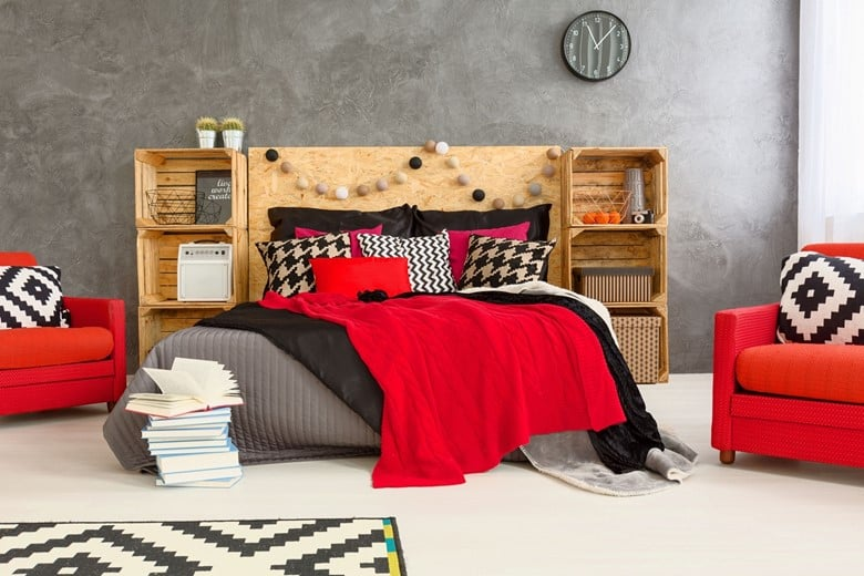 A Wood Crate and Corkboard Headboard