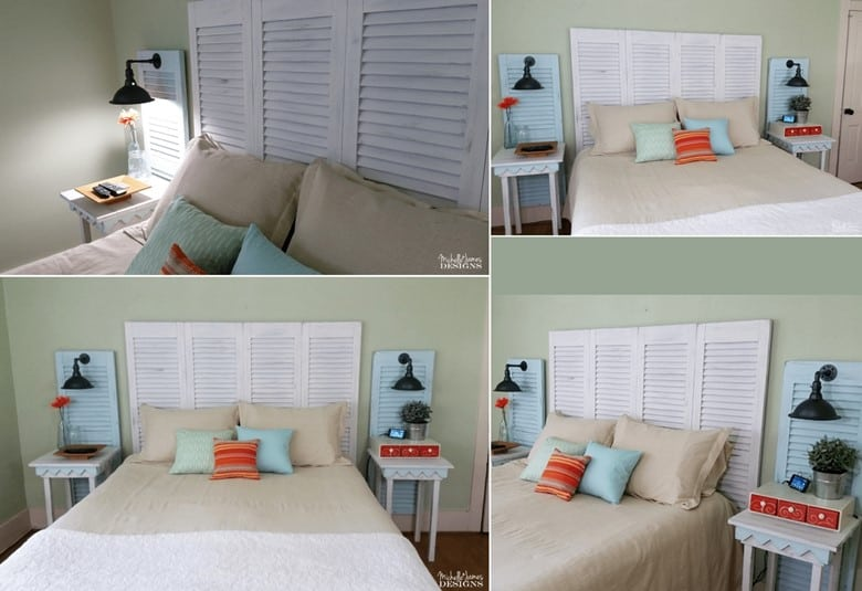A Recycled Shutter Headboard