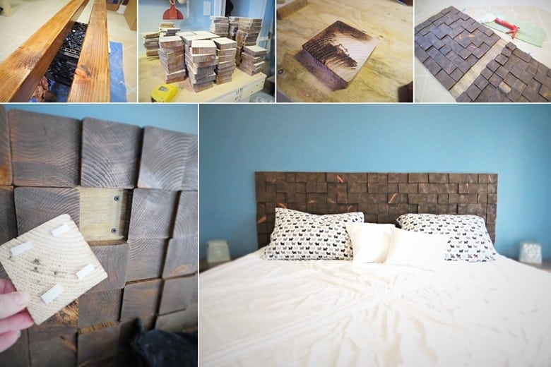 A DIY Wood Block Headboard