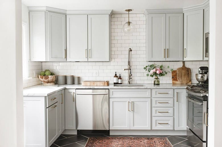 Pale Gray Cabinets can be a Substitute to an All-White Kitchen