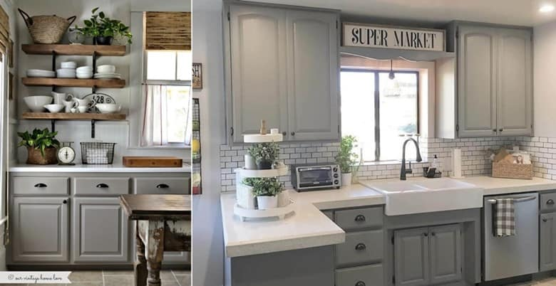 Mix Gray Cabinets with Farmhouse Style