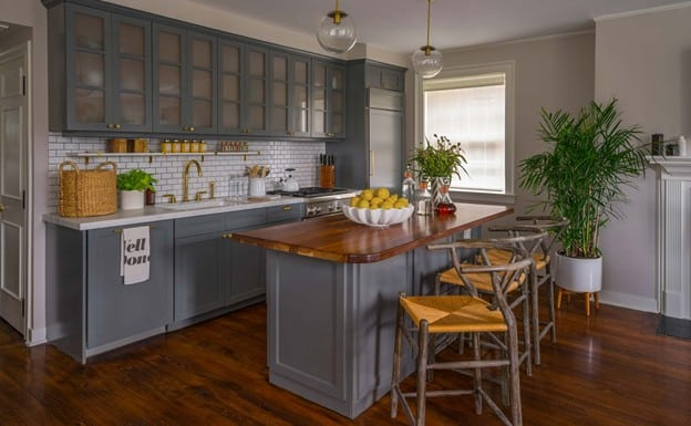 Combine Gray Cabinets with a Wood Top Kitchen Island