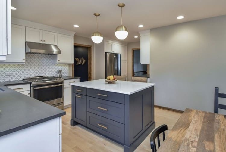 navy blue or deep blue kitchen cabinets