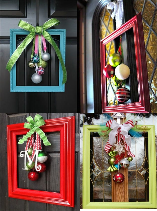 A Repurposed Picture Frame Christmas Wreath Idea