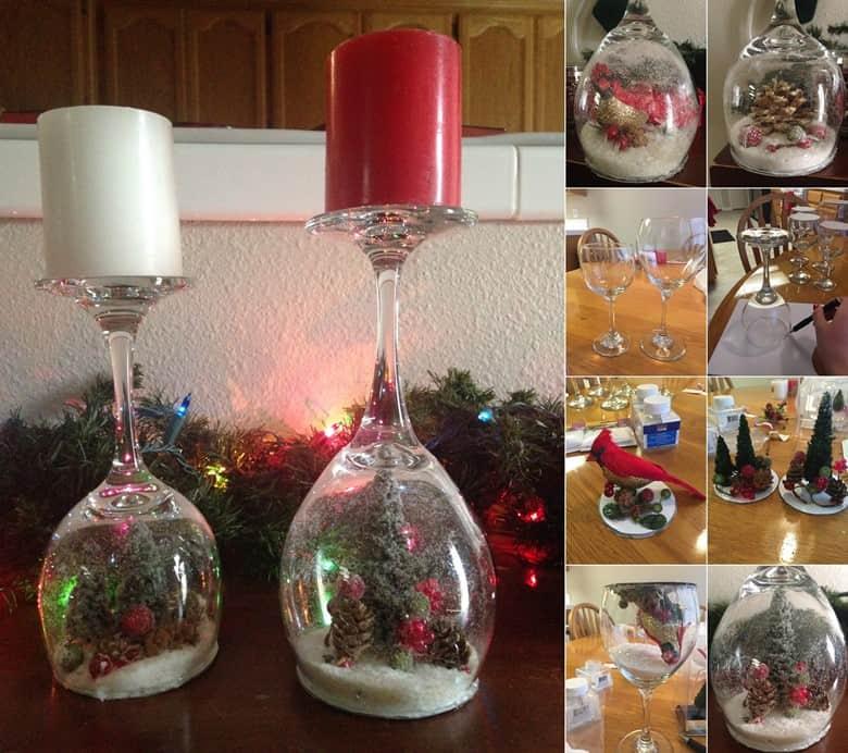 Wine Glass Snow Globe Candlesticks