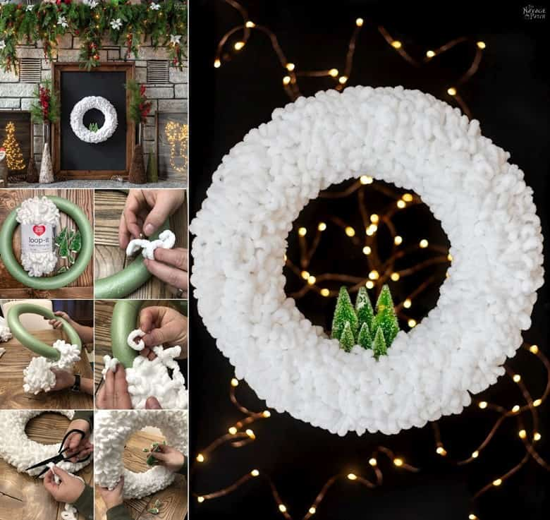 A Wintery Yarn Wreath