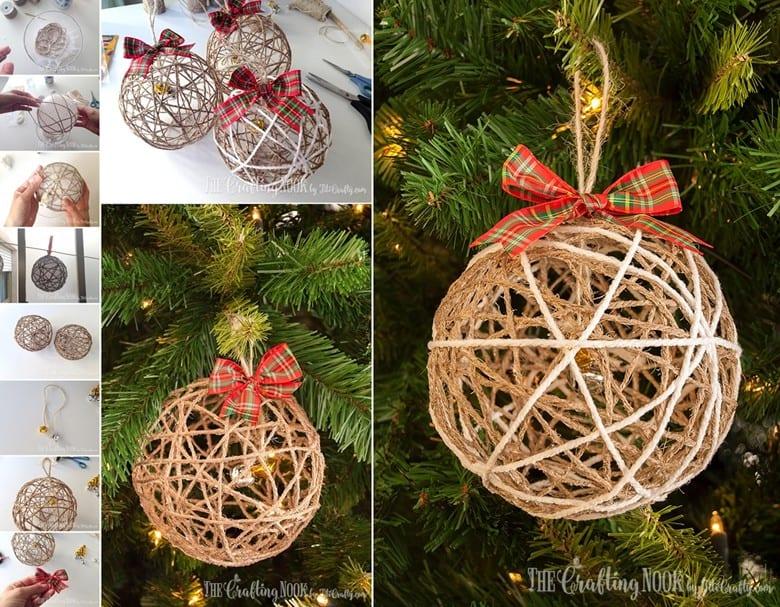 Rustic Twine Ball Christmas Ornaments