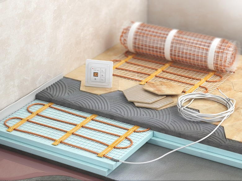 Floor with electric heating