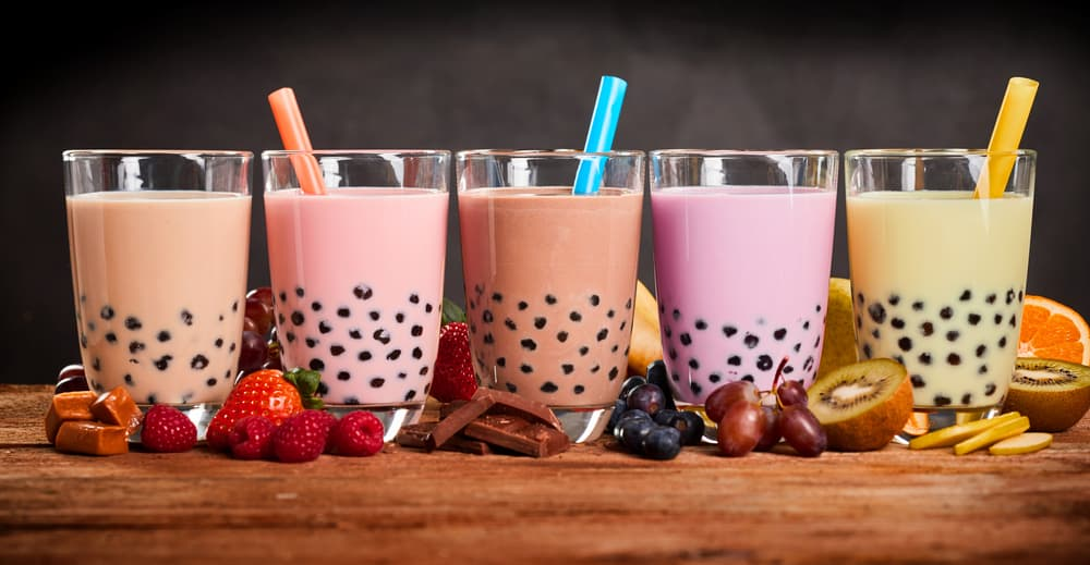 fresh boba bubble tea glasses