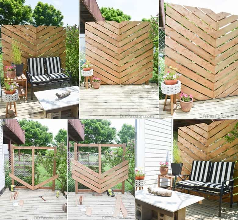 Chevron Outdoor Privacy Wall