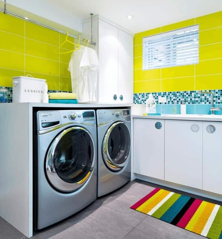 Bright and Groovy Basement Laundry Room