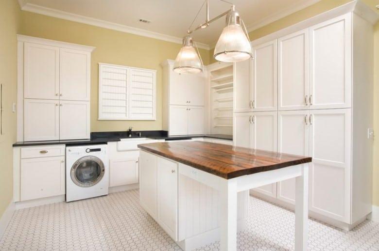Basement Laundry Room with Island