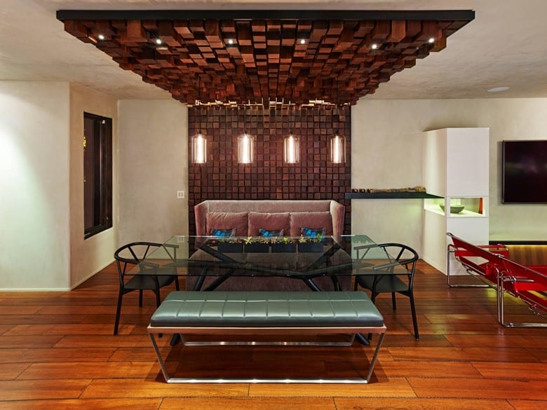 Wood Block Tile Ceiling Texture