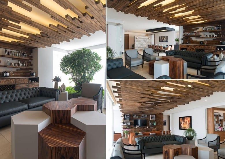 Wood Latticework Illuminated Ceiling Texture