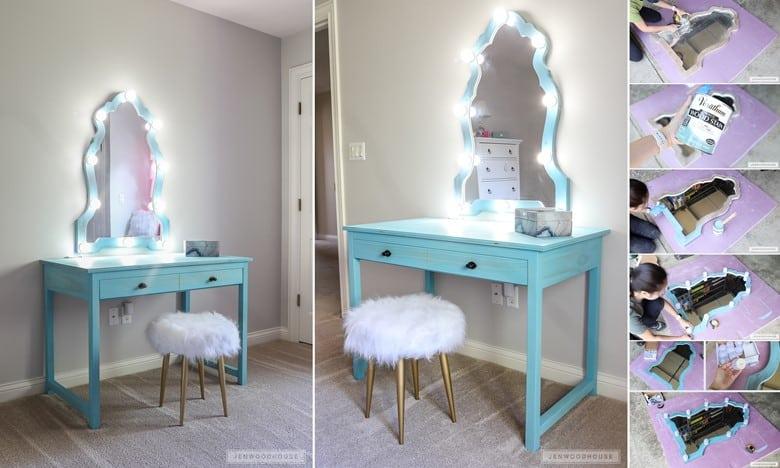 A Teal Makeup Mirror