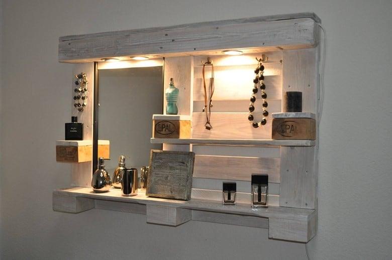 A Wall Mounted Pallet Mirror Shelf