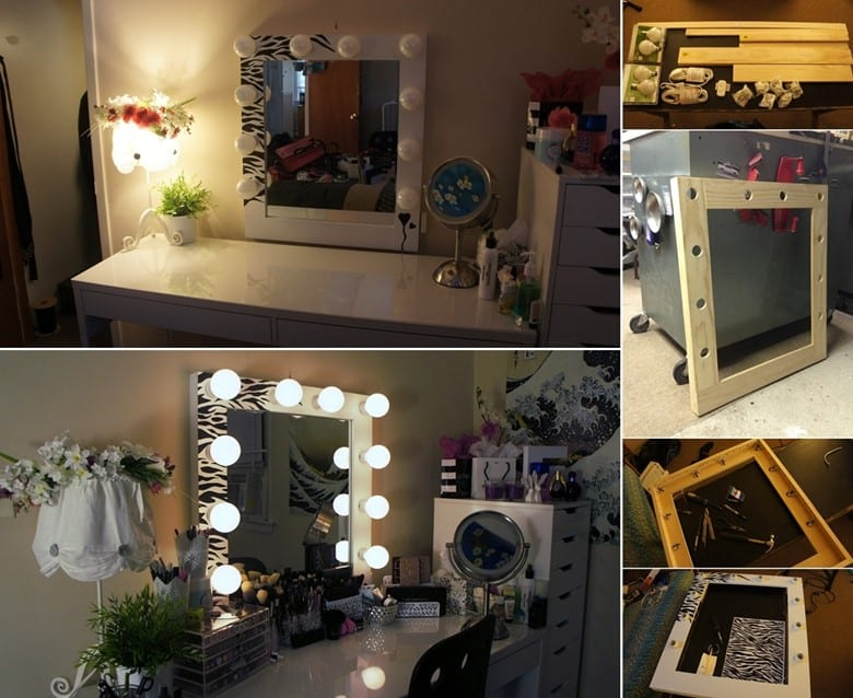 A Custom Made Vanity Mirror with a Zebra Print