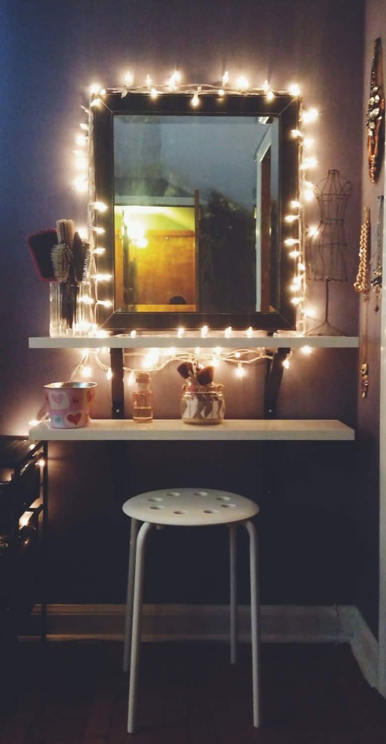 A Mirror Wrapped in Fairy Lights