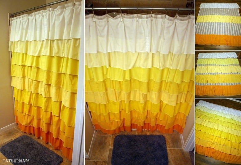 DIY Anthropologie Flamenco Shower Curtains in Ombre Yellow