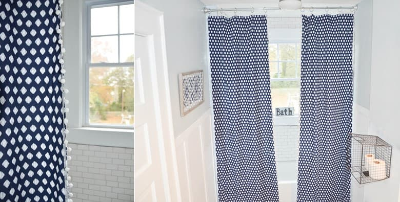 No-Sew Shower Curtains with Hot Glue from a Twin Sheet