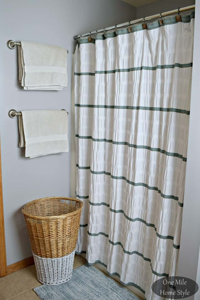 Textured White and Green Curtains