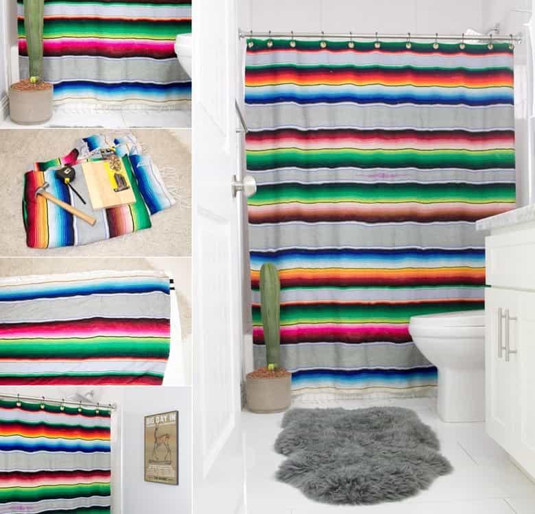 A DIY Serape Shower Curtain