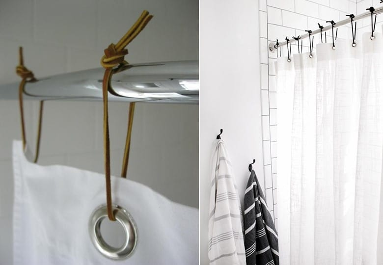 Shower Curtains with Leather Curtain Rings
