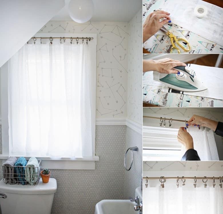 Easy No-Sew Bathroom Curtains