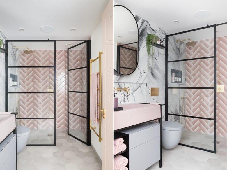 Pink and White Chevron Tiles