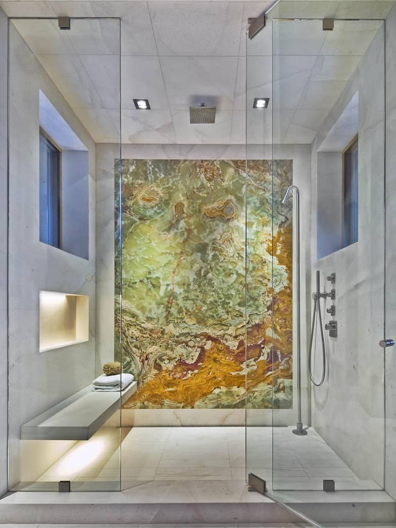 Marble Tiles with an Onyx Wall Slab