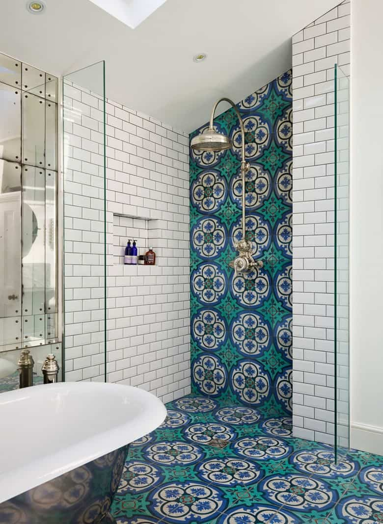 White Subway Tiles with Spanish Cement Tiles