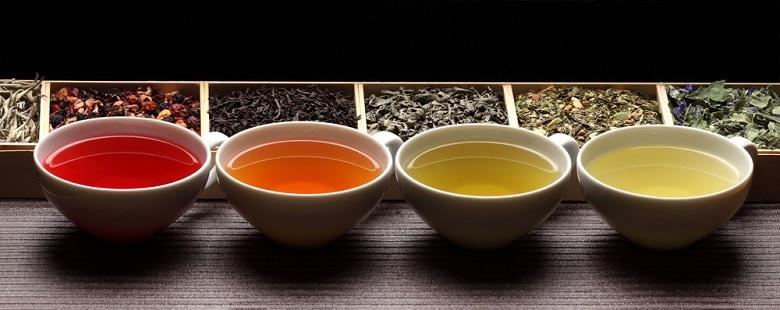 Black, green, herbal tea cups tea assortment in boxes